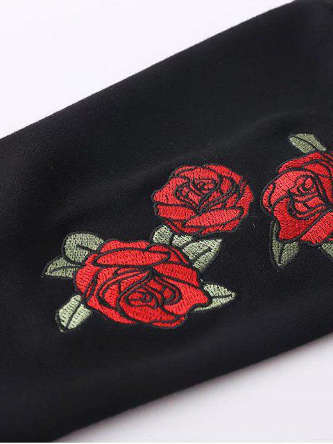 latest Floral Embrodiered Cropped Sweatshirt - BLACK L Mobile