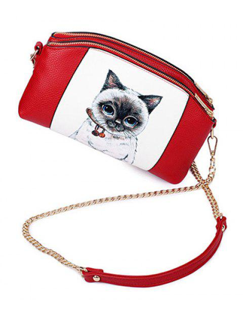 outfits Cat Printed Double Zipper Chain Crossbody Bag - RED  Mobile