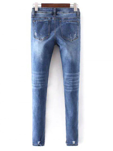 shop Bleach Wash Skinny Ripped Jeans - BLUE XL Mobile