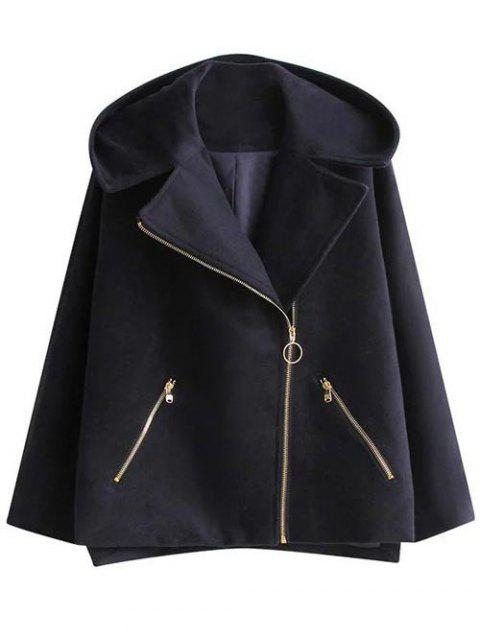 trendy Hooded A Line Wool Blend Coat - CADETBLUE S Mobile