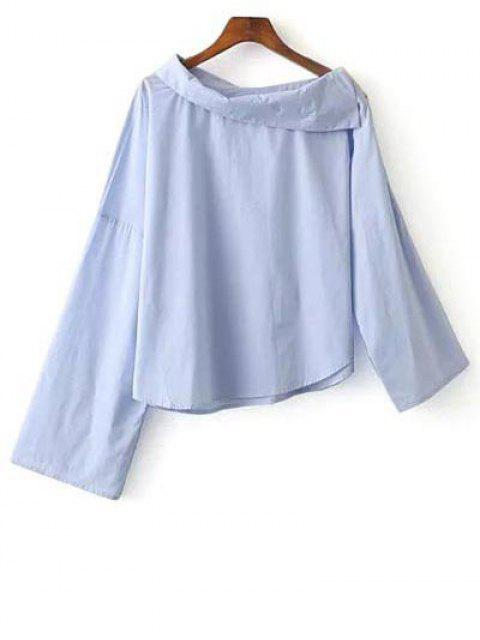 shop Foldover Neckline Asymmetric Blouse - BLUE XS Mobile