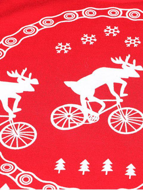 unique Merry Christmas Fawn Print Sweatshirt - RED M Mobile