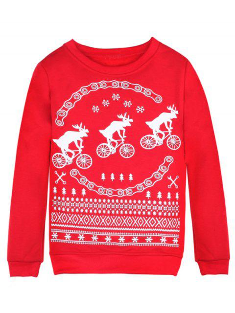 chic Merry Christmas Fawn Print Sweatshirt - RED XL Mobile