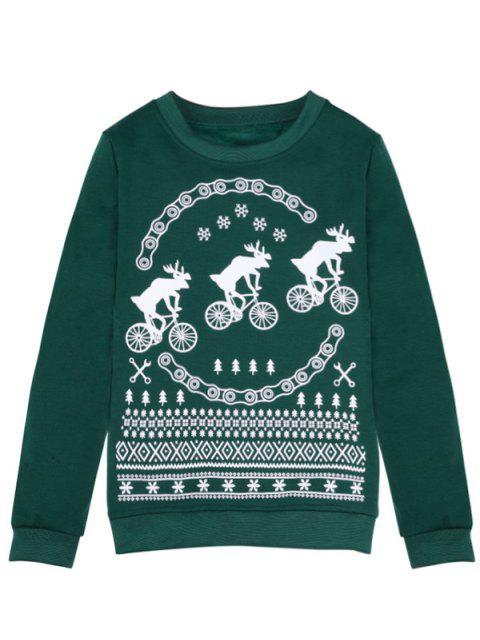 buy Merry Christmas Fawn Print Sweatshirt - GREEN L Mobile