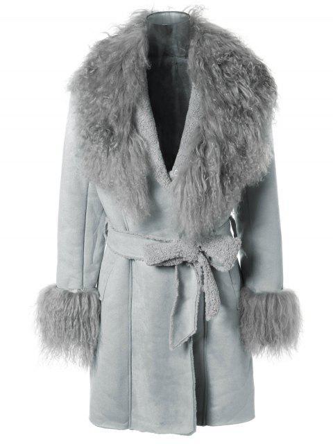 lady Faux Lamb Wool Coat - LIGHT BLUE ONE SIZE Mobile