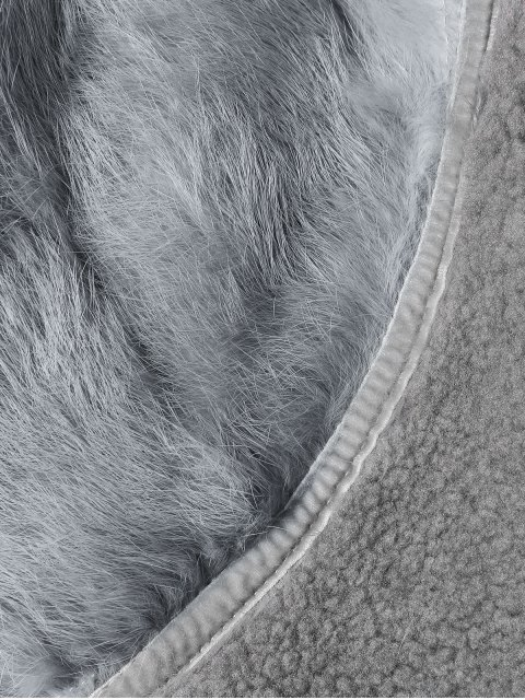 best Rabbit Fur Collar Fleece Coat - GRAY ONE SIZE Mobile