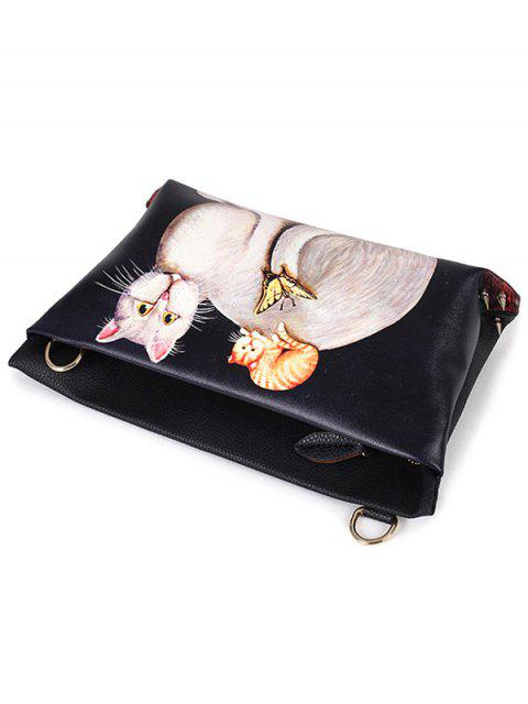 shops Cat Printed Colour Block Rivets Crossbody Bag -   Mobile