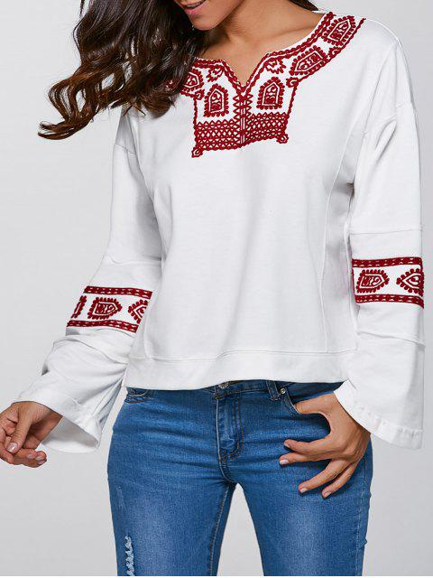 online Relaxed Fit Embroidered Sweatshirt - WHITE M Mobile