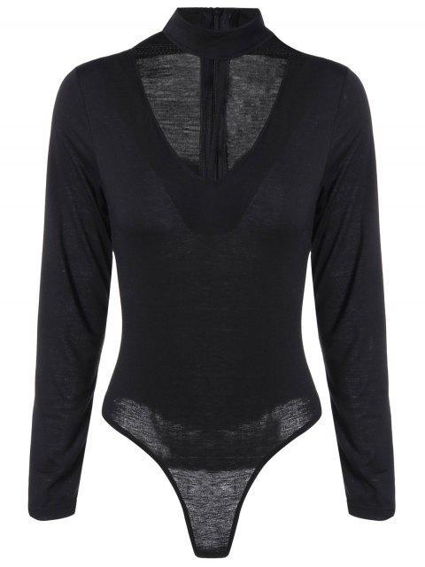V Neck Lace Up Bodysuit - Noir M Mobile