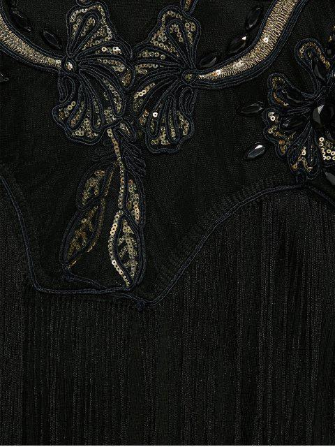 trendy Sequins Fringed Sweatshirt Dress - BLACK ONE SIZE Mobile