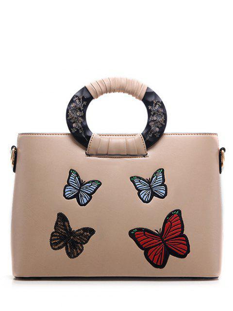 Motif papillon broderie en cuir PU Sac fourre-tout - Abricot  Mobile