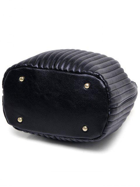 unique Drawstring Magnetic Closure Chain Shoulder Bag - BLACK  Mobile