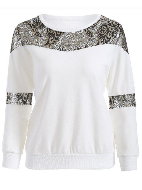 shops Lace Panel Sweatshirt - WHITE 2XL Mobile