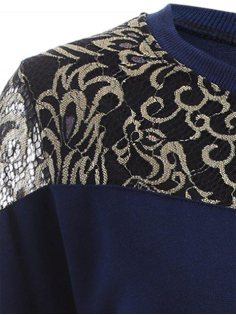 sale Lace Panel Sweatshirt - DEEP BLUE M Mobile