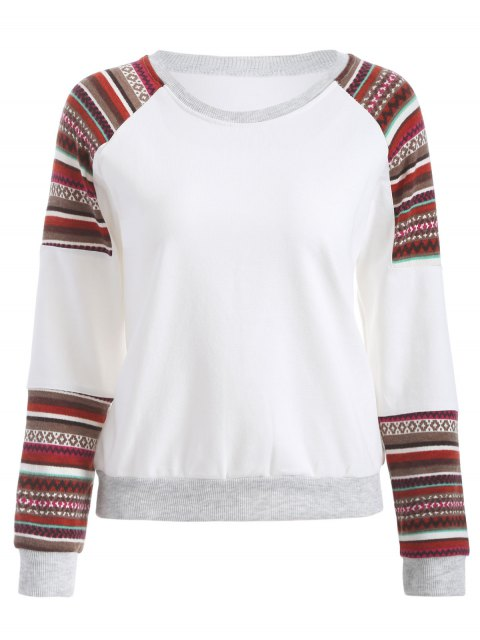 Tribal Print Sleeve Sweatshirt - Blanc M Mobile