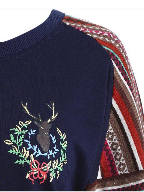 Tribal Print Sweatshirt - Bleu Foncé M Mobile