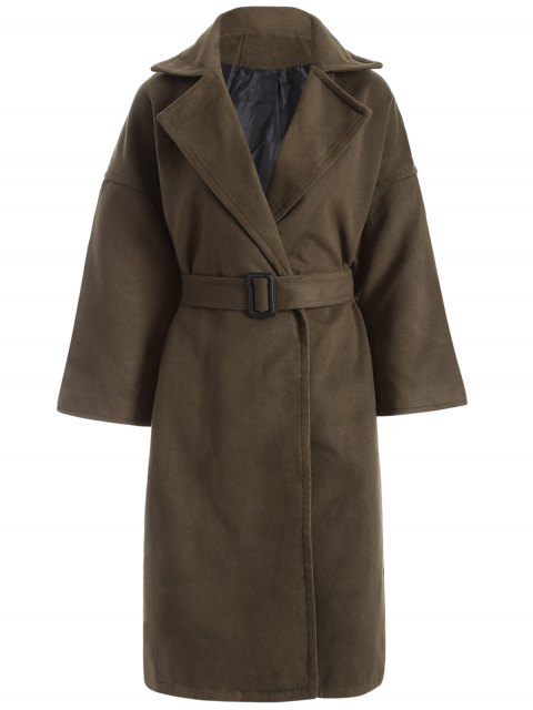 latest Wool Blend Winter Wrap Coat - ARMY GREEN L Mobile