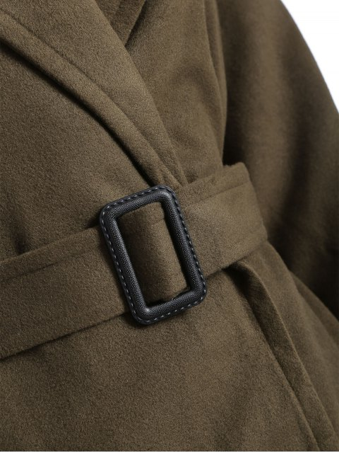 shops Wool Blend Winter Wrap Coat - ARMY GREEN XL Mobile