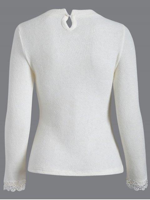 affordable Crochet Trim Jumper - WHITE L Mobile