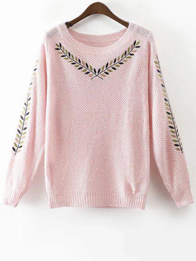 Olive Branch Embroidered Jumper - Pink M