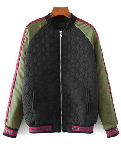 Tiger Embroidered Quilted Souvenir Jacket - Black L