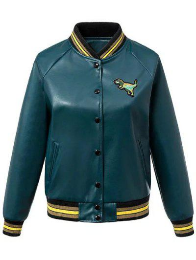 PU Leather Baseball Jacket - Blackish Green M