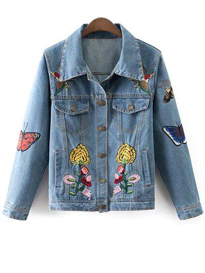 Floral Butterfly Denim Jacket - Denim Blue M