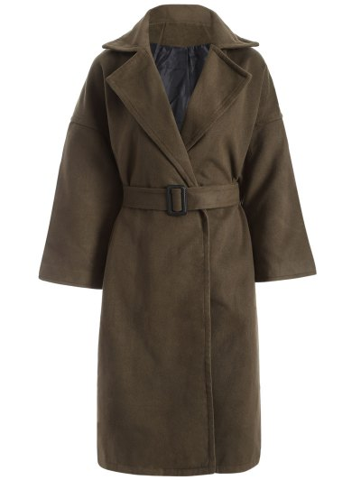 Wool Blend Winter Wrap Coat - Army Green M