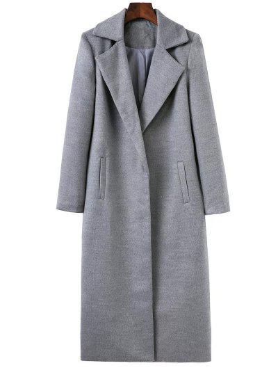 Longline Lapel Collar Cocoon Coat - Gray M