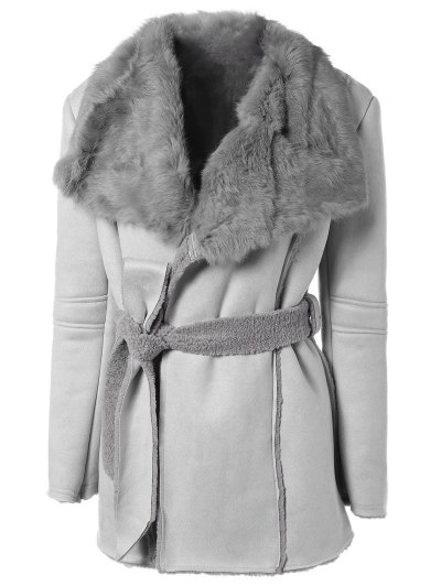 Rabbit Fur Collar Fleece Coat - Gray