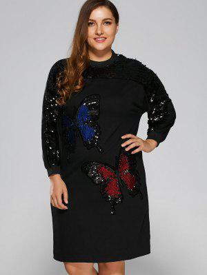 Sparkly Sequins Butterfly Sweatshirt Dress - Black