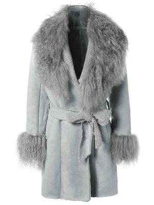 Faux Lamb Wool Coat - Light Blue