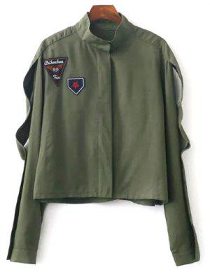 Patchwork Stand Neck Cropped Jacket - Army Green M