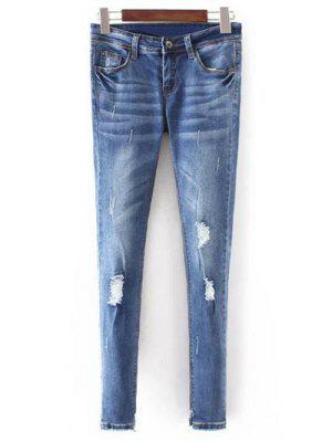 Bleach Wash Flaco Jeans Rotos - Azul Xl