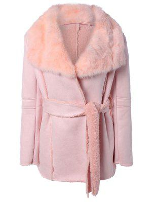Rabbit Fur Collar Fleece Coat - Pink