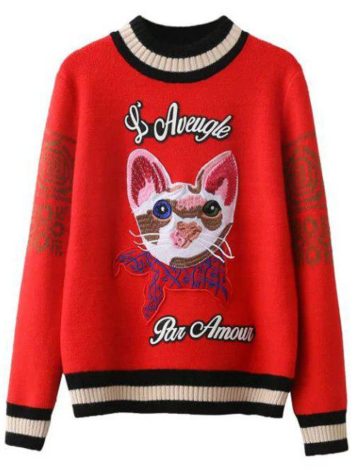 Kitten Embroidered Ribbed Sweater 198417402