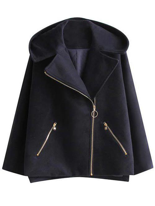 Hooded A Line Wool Blend Coat 198436701