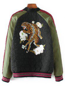 2019 Tiger Embroidered Quilted Souvenir Jacket In Black S Zaful