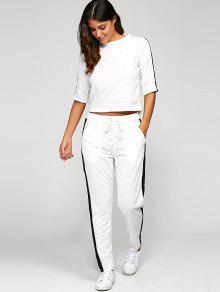 1/2 Sleeve T Shirt + Pants - White S