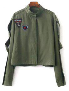 Patchwork Stand Neck Cropped Jacket - Army Green S