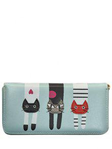 Buy Cat Pattern PU Leather Colour Spliced Wallet - LIGHT BLUE