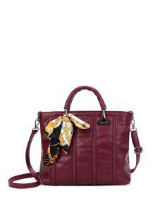 Buy Weaving Metal PU Leather Tote Bag - WINE RED