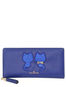 Sequins Cat Pattern Tassels Wallet - Blue