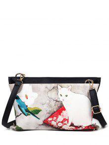 القط المطبوعة اللون كتلة المسامير حقيبة كروسبودي - أبيض فاتح