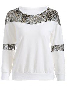 Lace Panel Sweatshirt - White Xl