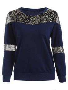 Lace Panel Sweatshirt - Deep Blue M