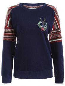 Buy Tribal Print Pullover Sweatshirt - DEEP BLUE 2XL