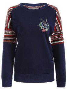 Buy Tribal Print Pullover Sweatshirt - DEEP BLUE L