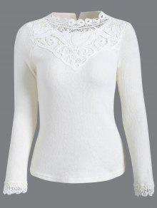 Crochet Trim Jumper - White L