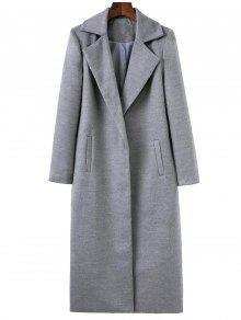 Longline Lapel Collar Cocoon Coat - Gray S